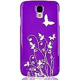 JAMMYLIZARD | Schmetterling & Blumen Back Cover Hülle für Samsung Galaxy S4, LILA