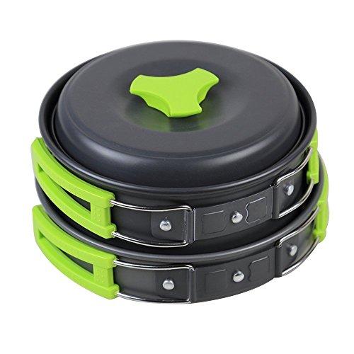 Camping Kochgeschirr | InnooTech Kochgeschirr-Set 11 tlg Kochausrüstung für Outdoor Wandern Picknick | FDA GENEHMIGTE Topf & Pfanne aus Aluminium und Edelstahl | faltbare Löffel & Gabel