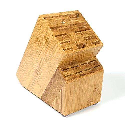 Woodluv in bambù 19 Slot universale per coltelli vuoto Contenitore organizer