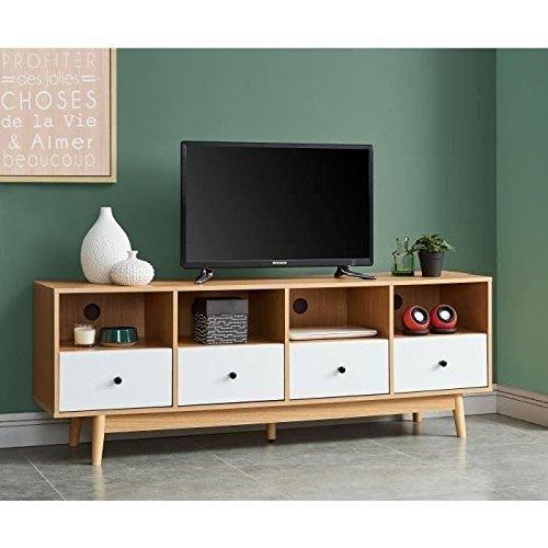 HAPPY Meuble TV scandinave mélaminé décor chene et blanc mat + pietement en hévéa massif - L 160 cm