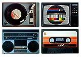 Set di tovagliette retro, motivo: dispositivi HiFi degli anni '80