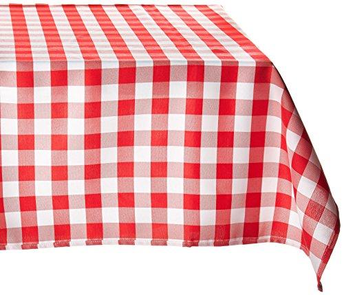 LinenTablecloth 137cm Quadratisch Tischdecke, Polyester, Rot & Weiß Checker (Checker Schwarz Tischdecke)