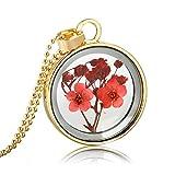 Smilelady joyeria mujer Collar Colgante de flor seca roja planta Estilos Regalo de Cumpleaños de Navidad Gold