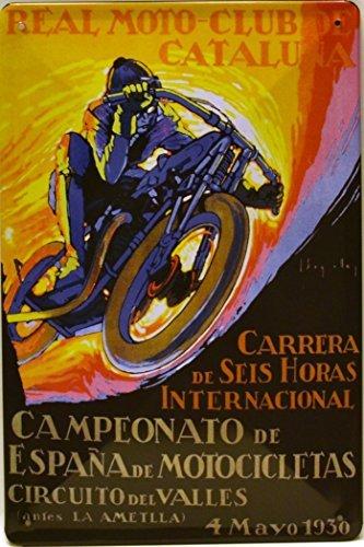 Art Escudellers Cartel Póster publicitario de chapa metálica con diseño retro vintage de Catalunya/España. Tin sign. 30 cm x 20 cm (MOTOS 1930)