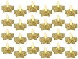 LED Teelichter Kerzen Stern in Gold inkl. Batterien mit Glitzer