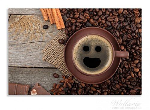 Wallario Herdabdeckplatte 2-teilig aus Glas 80x52cm Tasse Kaffee