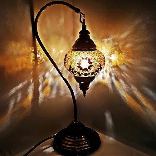 Handgefertigt Turkish Marokkanische Tiffany Stil Glasmosaik Schreibtisch Tischlampe Licht 29 Zentimeter Hoch - G5 Schwanen- -
