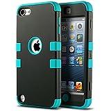 iPod 5 6 Carcasa, ULAK® iPod Touch 5 6 Funda Case híbrida de 3 capas de silicona Antigolpes con Tapa para Apple iPod Touch 5 5S generación (Negro / Azul)