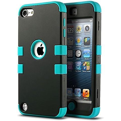 iPod 5 6 Carcasa, ULAK® iPod Touch 5 6 Funda Case híbrida de 3 capas de silicona Antigolpes con Tapa para Apple iPod Touch 5 5S generación (Negro /