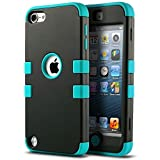 ULAK Heavy Material Protective Hard Case For iPod Touch 5 6 Case, Multi-Coloured Hybrid Case for Apple iPod Touch 5th/6th Generation (Black/Blue)