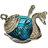 #7: Oxidized White Silver Metal Single Duck Turquoise Bowl Handmade HandiPHaft For Home Decor Gift Item