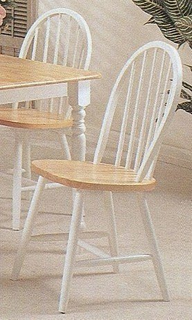 Set of 2 Natural & White Finish Windsor Dining Chairs by Acme