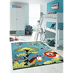 KIDS-Alfombra para habitación infantil, diseño de SAFARI de polipropileno, diseño moderno, Alfombra para niño, polipropileno, azul, 80 x 150 cm