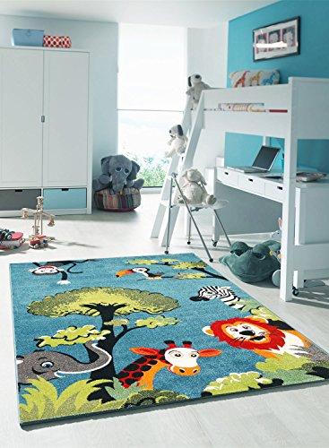 KIDS-Alfombra para habitación infantil, diseño de SAFARI de polipropileno, diseño moderno, Alfombra para niño, polipropileno, azul, 120 x 170 cm