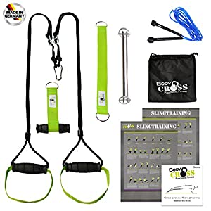 Schlingentrainer mit Türanker und Zertifikat (InBuB – Siegel*) |Sling Trainer Pro inkl. Springseil, Übungsposter, Trainingsplan und Musik CD | Made in Germany | VARIANTEN: Standard, mit Spacer ODER mit Umlenkrolle