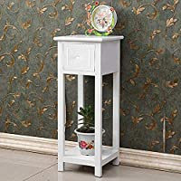 Quieting Bedside Telephone Table With Drawer Slim Tall Living Room MDF And Paulownia Wood White
