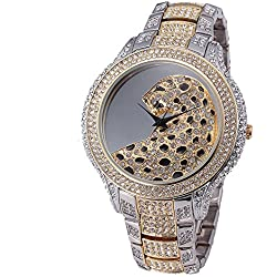 Sheli 2 Tone Gold and Silver Unique Designer Oversized Crystal Quartz Watch for Women Wife Girlfriend, 45mm