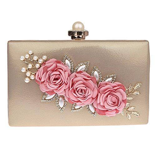 keland Damen Satin Blume Abend Tote Clutch Bag Perle Perlen Hochzeit Brieftasche (Gold) - Blume Perlen Satin Clutch