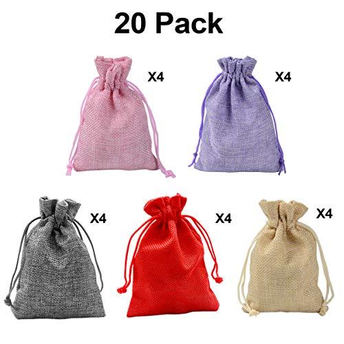 20 PCS Color Mezclado Bolsa arpillera Lino cordón