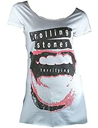 Amplified Mujer Lady – Camiseta Blanco Official Rolling Stones Terrifying labio Designer túnica tunik