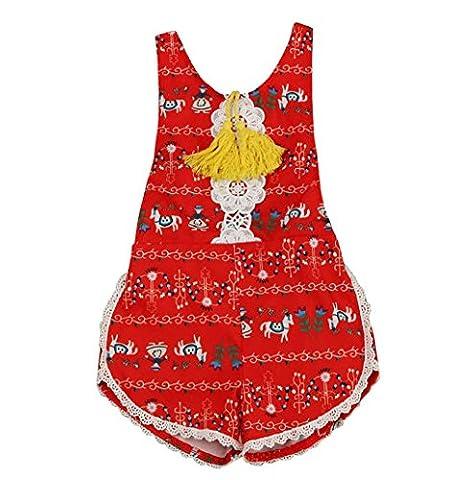 Rosennie Kleinkind Baby Blumen Gurt Spielanzug Overall Kleider Outfits (3