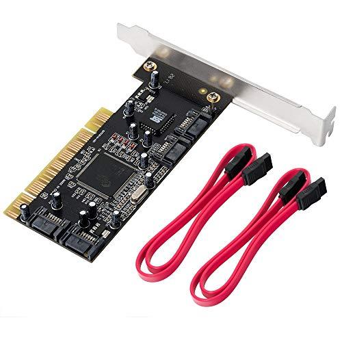 QNINE Carte d'extension Interne du contrôleur Raid SATA PCI à 4 Ports avec  2 câbles Sata, convertisseur Adaptateur PCI à SATA pour PC de Bureau, Prend