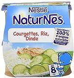 Nestlé Bébé Naturnes Courgettes Riz Dinde Plat complet dès 8 mois 2 x 200g - Lot de 4