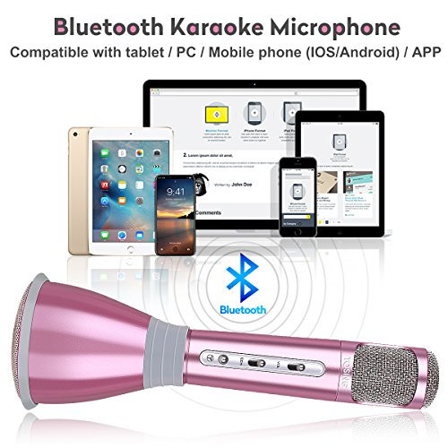 Tragbares Karaoke Spieler Drahtloses Mikrofon mit Bluetooth Lautsprecher für Party, Podcast,Zuhause,KTV, Singen kompatibel mit IOS Apple iPhone iPad Android Smartphone PC (Neu Rosegold) - 3