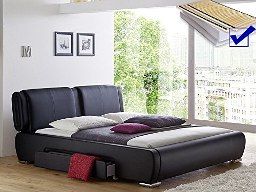 Polsterbett schwarz Bett 180×200 cm + Lattenrost + Matratze + 2x Bettkasten Doppelbett Designerbett Cesano