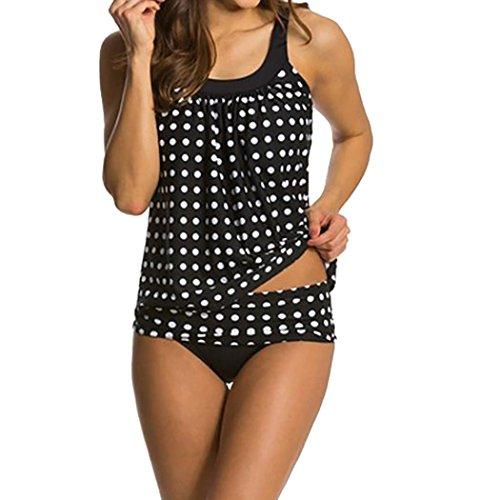 VJGOAL Damen Tankini, Damen Mode Zwei Stück Sommer Badeanzüge Sets mit Boy Shorts Damen Beach Schwimmen Kostüme (3XL/44, Schwarz) (Kostüm Ideen Für Die 2 Besten Freunde)