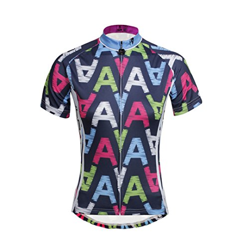 Women's Short Sleeve Cycling Jersey Jacket Moisture Wicking Outdoors Sports Shirt Quick Dry Breathable Mountain Clothing Bike Top A Words Decoration Multicolor Large (Sleeve Lady Short Cycling Jersey)