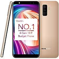 "Smartphone Libre de 5.5"", Leagoo M9 Moviles Baratos (18:9 Pantalla Infinita, 3G, Android 7.0, 2GB RAM + 16GB ROM, Cuatro Cámaras: Trasera 8+2MP, Frontera 5+2MP, MT6580A Quad Core 1.3GHz, Huella Dactilar, Batería 2850mAh, Doble SIM) (Oro)"