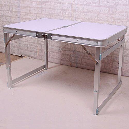 LVZAIXI Jardin extérieur en Aluminium Portable Pliant Camping Pique-Nique Partie Champ Cuisine Barbecue Table (Couleur : Blanc)