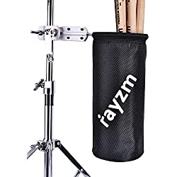Rayzm Drum Stick Bag Holder, 1680D Oxford Nylon Mallet/Brush/Beater Stick Holder with Aluminum Clamp for Drum Kit & Music Stand (1.5-3cm Diameter Pole), UP to 12 Pairs of Sticks, Pocket Diameter 11.5cm* 24.5cm Deep