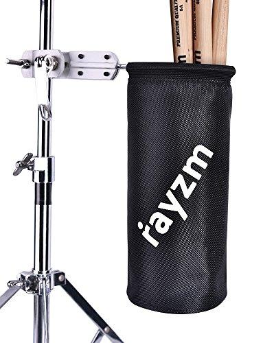 Rayzm Drumstick Halter/Trommelstockhalter/Trommelstock Tasche Beutel, Nylon Mallet/Brush/Beater Stickhalter mit Aluminium-Klemme für Drum Kits & Notenständer, bis zu 12 Paar Sticks