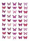 Cakeshop 45 x Essbare Rosa Schmetterlingskuchen Topper (Tortenaufleger, Bedruckte Oblaten, Oblatenaufleger)
