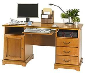 simmob lyon850mn bureau ministre informatique bois merisier 64 8 x 144 80 x 74 cm. Black Bedroom Furniture Sets. Home Design Ideas