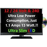 "16"" Ultra Slim LED Digital Freeview USB Record TV DVD. Caravan HGV Boat. 12 / 24 VOLT DC 12V + 240"