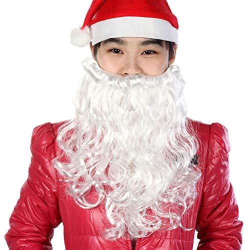 BESTOYARD Weihnachtsmann Bart Lange Gesichtsbehaarung Geschenk Weihnachtsmann Make-up für Festival Party Weiß