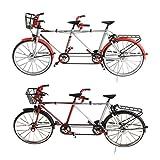 Homyl 2pcs 1:10 Legierung Diecast Racing Tandem Fahrrad Rennrad Modell Spielzeug Sammlung (Schwarz + Rot)
