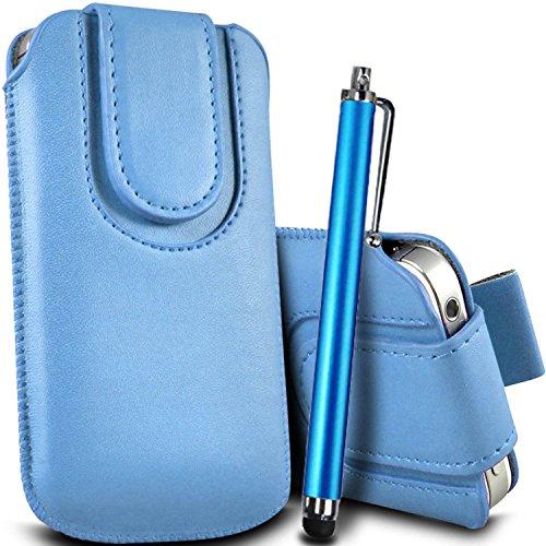 Brun/Brown - Sony Xperia Z3 Compact Housse et étui de protection en cuir PU de qualité supérieure à cordon avec fermeture par bouton magnétique et stylet tactile pour par Gadget Giant® Bleu Baby & Stylus Pen