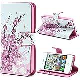 MTP iPhone 4 / 4S Funda con tapa, Cover, Funda dura integrada, Bookstyle Book Case, Carcasa con Función de Soporte - Estilo Cartera - Flores Rosas