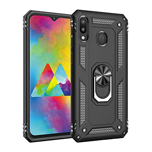 Wubaouk Samsung Galaxy M20 Hülle with Ring Holder, Rotating Kickstand Stand for Car Magnetic Mount Slim Soft Shockproof Silicone Gel TPU Phone Cover for Samsung Galaxy M20 Slim Mount Speakers