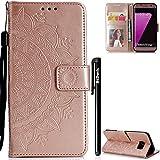 BtDuck Kompatibel mit Handyhülle Samsung Galaxy S7 Edge Hülle Rose Gold Mandala Blume Mädchen Brieftasche Slim Hülle Leder Magnet Flip Case Weich Silikon Back Case Schutzhülle Tasche Leder