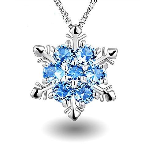 Leisial™ Collar Mujer Forma de Copos de Nieve Azul Cristal Elegante para Joyería Regalos de Cumpleaño Navidad Accesorios de Novia
