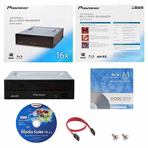 Internal Blu-ray BDXL DVD CD Burner Writer-Laufwerk in Kleinkasten mit FREE 1pk MDisc BD + Cyberlink Media Suite Software + Kabel und Befestigungsschrauben ()