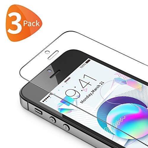 Bewahly Panzerglas Schutzfolie für iPhone SE [3 Stück], 9H Härte Panzerglasfolie HD Folie 0.25mm Ultra Dünn Bildschirmschutzfolie Full Screen für iPhone SE 5S 5C 5