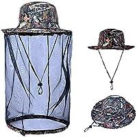 Casque de masque anti-moustique, SUNSEATON Chapeau de pêche avec tête Net Mesh Protection Apiculteur Chapeaux du visage dans le jardinage Pêche Randonnée Camping agricole Camping