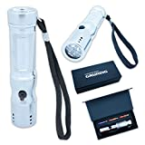 GRUNDIG Taschenlampe aus Metall in silber inklusive Batterien in Geschenkbox