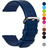 Fullmosa 12 Colors for Quick Release Leather Watch Strap, Uli Genuine Leather Watch Band 18mm Dark Blue